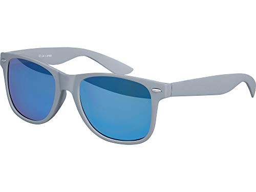 Balinco Hochwertige Nerd Sonnenbrille Rubber im Wayfarer Stil Retro Vintage Unisex Brille mit Federscharnier - 96 verschiedene Farben/Modelle wählbar (Grau - Blau verspiegelt)