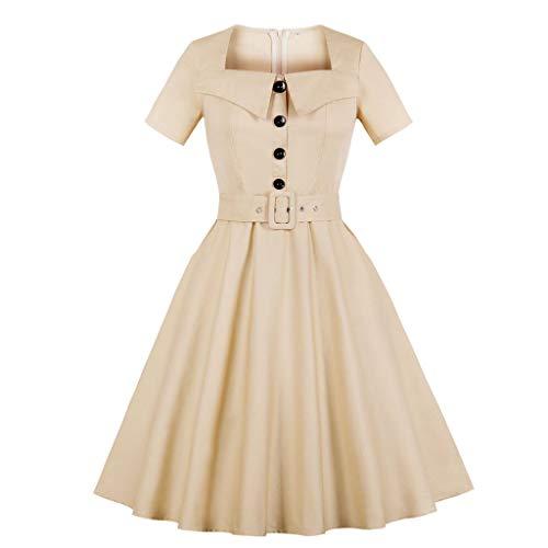 Herbst und Winter Damen Einfarbig Klassische Krawattengürtel Knielangen Rock Puppenkragen Kurzärmeliges Kleid(Khaki,2XL)