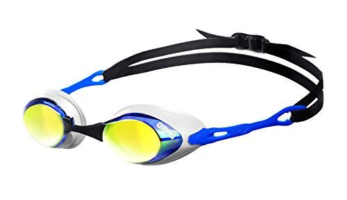 arena Unisex Wettkampf Profi Schwimmbrille Cobra Mirror Verspiegelt (UV-Schutz, Anti-Fog Beschichtung), Blue-Orange-Blue (17), One Size