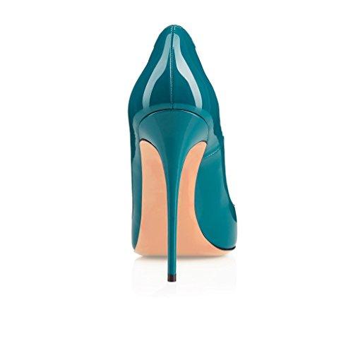 EDEFS Femmes Artisan Fashion Escarpins Délicats Classiques Elégants Pointus Des Couleurs Variées Chaussures à talon de 120mm Bleu Vert Sombre
