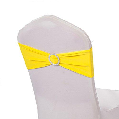 teerfu 50Stretch Hochzeit Dekorationen Elastic Spandex Stuhl Bezug Schärpen Schleifen Elastic Stuhl Bands mit Schnalle Schieber Schärpen Bögen gelb (Spandex Gelb)