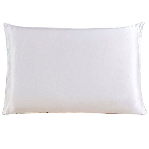 Emmet 100% Mulberry Silk Kissenbezug 22 Momme mit versteckter Reißverschluss-Kissenhülle für Haar und Haut 1Stück / Packung Weiß (50 x 65 cm)