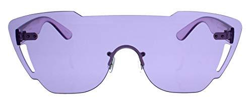 Topmoderne Sonnenbrille im Designer Look Blogger Style randlos Damen Herren Flat Shield Lens P66 (Lila)