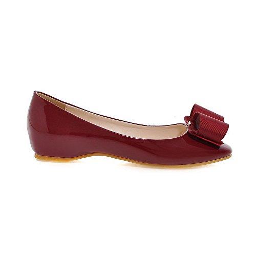 VogueZone009 Femme Carré à Talon Bas Verni Couleur Unie Tire Chaussures Légeres Rouge