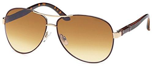 17 Modelle Damen Pilotenbrille Sonnenbrille 70er Jahre Sunglasses Fliegerbrille (Leo-Gold)
