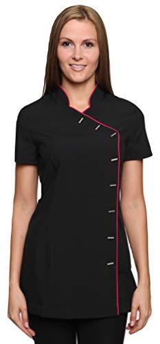 Mirabella Health & Beauty Damen Berufsbekleidung Kasack Iris Schwarz-Pink Gr. 44
