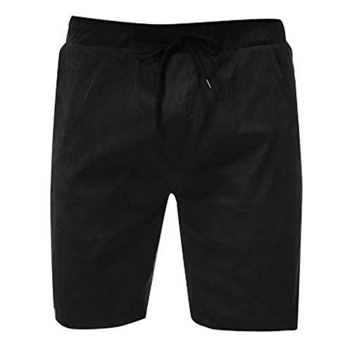 Xmiral Shorts Mode für Männer Einfarbig Kordelzug Taschen Shorts Lässig Herren Strandhosen Sports Training Party Beachshorts Badehose(Schwarz,XXL)