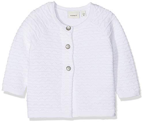 NAME IT Baby-Mädchen Nbfhammie Ls Short Knit Card Strickjacke, Weiß Bright White, (Herstellergröße: 86)