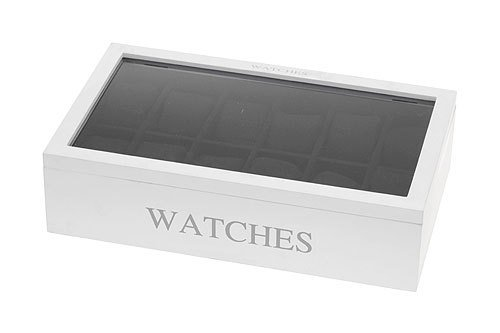 Uhrenvitrine Holz Uhrenbox für 12 Uhren inklusive Uhrenkissen 34x20x9cm , Farbe:Weiß