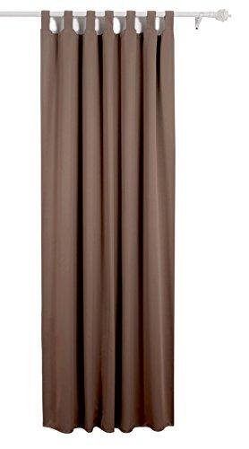 Deconovo Verdunkelungsvorhang Schlaufen Gardinen Schlafzimmer Vorhang Blickdicht Schlaufen 175×140 cm Braun
