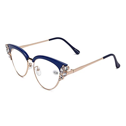 TENGGO Frauen Ultra-Light Cat Eye Frame Computer Lesebrille Mit Strass-Blau-3.0