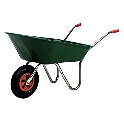 Simpa 85L 85 Litre Heavy Duty Wheelbarrow - Durable Green Plastic Tray Bed - Galvanised Steel Handles/Frame - Pnuematic tyre - Assembly Required