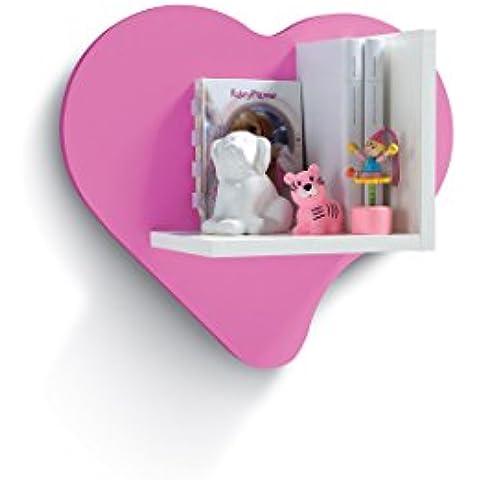 Mensola pannello a muro a forma di cuore - cm L45 - Lilla