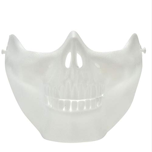 Dodom Paintball Maske Schädel Skelett Maske Army Games Outdoor Metallgewebe Augenschutz Kostüm für Halloween Party Supplies, weiß