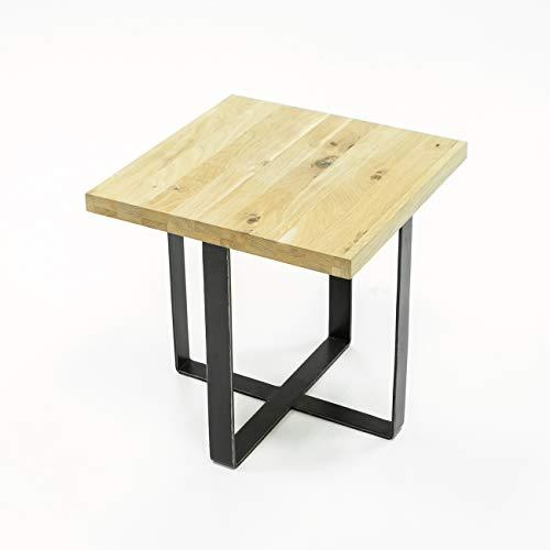 Meubletmoi Bout de canapé/Table d'appoint en chêne Massif et métal - Design Industriel Factory - Qualité & Authenticité - Collection Originale FABRIK