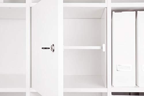 INWONA Abschließbare Tür für IKEA Kallax Regal Schließsystem: verschiedenschließend/mit Regalboden/Kallax Tür mit Schloß und Rückwand in weiß - ideal für Lehrerzimmer Arbeitszimmer Kindersicherung ...