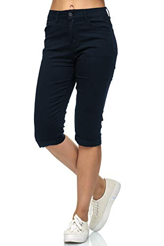 Damen Capri Jeans 3/4 Stretch Bermuda Shorts Big Size Hose, Größe Damen:40 / L, Farben:Navy