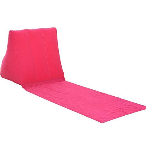 MYQG Strandmatte Cool Eflatable Beach Mat Festival Camping Freizeit Liege Zurück Kissen Kissen Stuhl Rose Red -