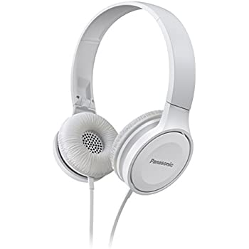 Panasonic On Ear Stereo Headphones RP-HF100ME-W with Integrated Mic and Controller, Travel-Fold Design, White