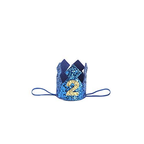 JingYuan Baby-Geburtstags-Crown-Hut Nummer 2 Stirnband Kleiner Prinz Prinzessin Kuchen Smash Foto Prop Party Supplies ()