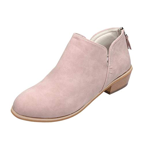 HAINE Ankle Boots Women Suede Block Heel Booties Low Flat Lace Winter Walking Shoes Espadrille Slip On Pointed Toe Short Boots Elegant Pink 5 UK -