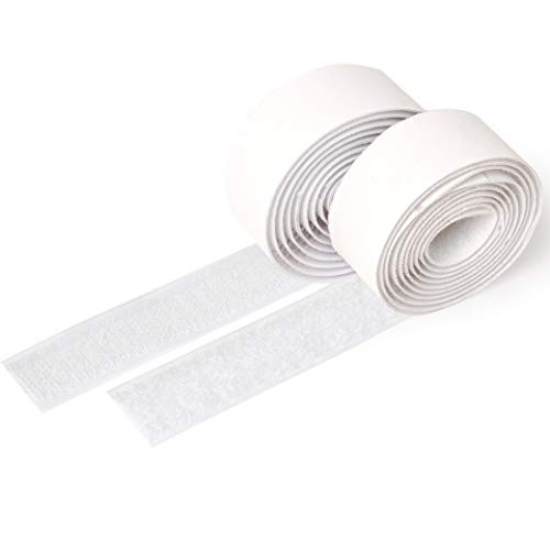 iLP Klettband weiß selbstklebend - 1 Meter lang ca. 20 mm breit - sichere Fixierung Befestigung extra stark für Do it Yourself Basteln Heimwerken - je 1 Rolle Flausch- und Hakenband