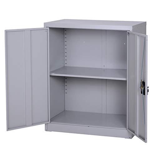 Vinsetto armadietto mobile ripiano regolabile chiusura di sicurezza per casa ufficio garage acciaio 80x40x92.5cm grigio