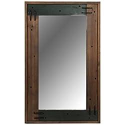 Indhouse - Espejo de pared para decoración de estilo industrial en madera envejecida