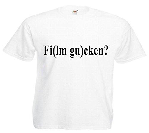 Motiv Fun T-Shirt Fi(lm Gu)cken Obszön Sex Spass Motiv Nr. 3234 Weiß