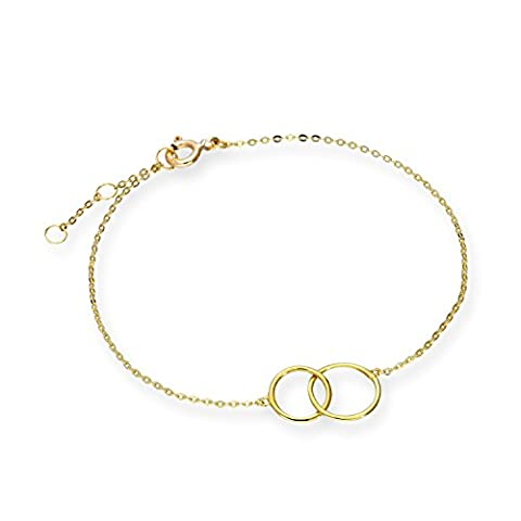 9ct Gold 7 Inch Karma Circles Bracelet