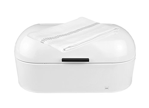 Frisco Metall (kela Metall-Brotkasten Frisco weiß, 440x215x220 mm + GRATIS Geschirrtuch, 465x655 mm, 100% Baumwolle)