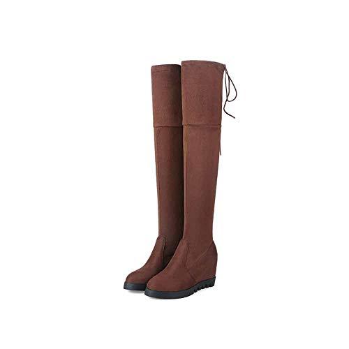 Herbst Über Dem Knie Lange Tube Fashion Single Boots Wedge Mit High Heel Martin Stiefel,C,42 (Heel Wedge High Boots)