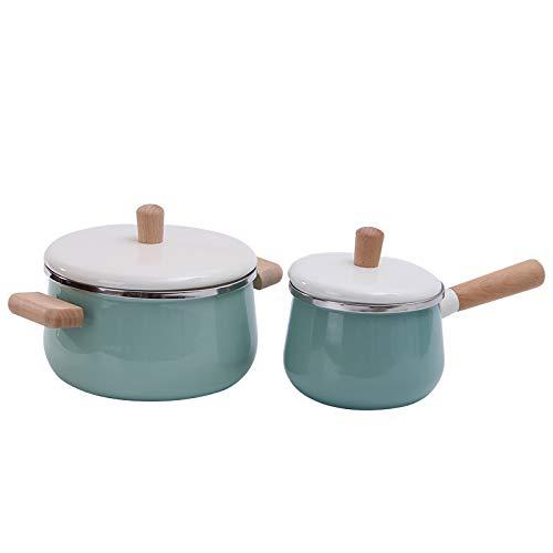 Ocamo Emaille Suppentopf - Elm Griff Milchpfanne, Baby Füllung Milchpfanne Blau Einzelner Milchtopf 14cm