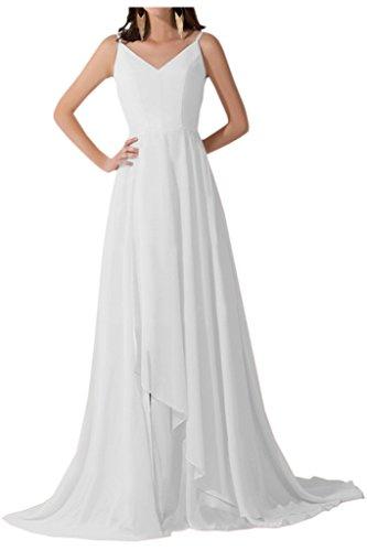 Sunvary Elegant Neu Damen V-Neck Traeger Chiffon Abendmode Lang Abendkleider Weiß