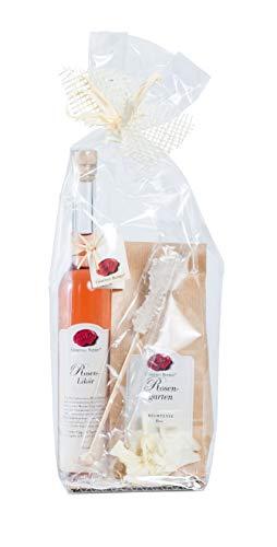 "PHK39-42 Gourmet Berner Teegeschenk""Rose"": Rosenlikör 0,1l & Rosengarten Lebensfreude 100g im Beutel, Kandisstick, ORIGINAL PREIS 15,95 €"