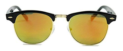 50er Jahre Retro Sonnenbrille Halbrahmen schwarz gold Rockabilly Clubmaster Style FARBWAHL (Fire verspiegelt)