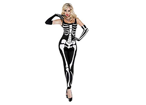 GGTBOUTIQUE Women's Sexy Skeleton Jumpsuit Costume (medium)