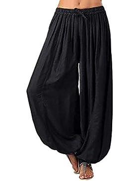 beautyjourney Pantalón harem talla grande para mujer, Pantalones de algodón sueltos ocasionales y de lino Pantalón...