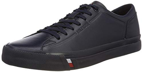 Tommy Hilfiger Herren Corporate Leather Sneaker, Blau (Midnight 403), 43 EU