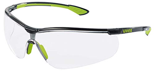 Uvex Sportstyle Schutzbrille - Transparente Arbeitsbrille - Schwarz-Grün