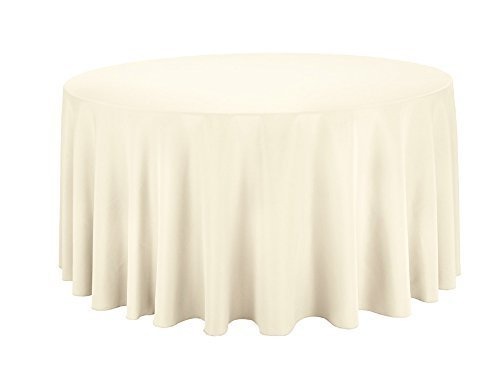 Preisvergleich Produktbild Rund Baumwolle Polyester Tischdecke Cover für Hochzeit, Esstisch und Geburtstag Party 304,8cm von Hochzeit liefert, Textil, Single, Ivory