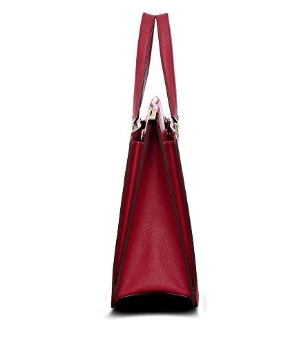 d7ec618fb7ef7 Bovari Victoria Bag Handtasche Schultertasche Umhängetasche (39x29x13 cm) - Saffiano  Leder - rot red rouge
