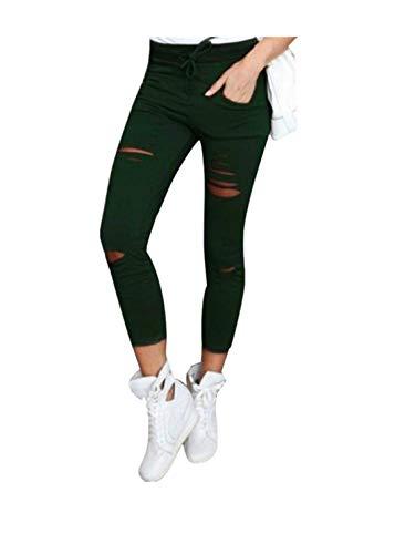 Auiyut Damen Stretch Skinny Löcher High Waist Pants Trousers Yoga Hose Women Skinny Ripped Pants High Taille Stretch Slim Bleistift Hose Hochbund Röhrenjeans Lässige Hosen - Womens Stretch-baumwolle-yoga Pant