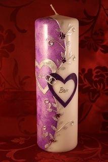 Hochzeitskerze mit Namen & Datum H-104 in verschiedenen Farben