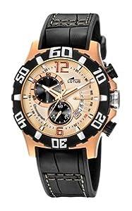 Reloj cronógrafo Lotus Freestyle de caballero de cuarzo con correa de piel negra (cronómetro)