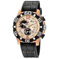 Lotus Freestyle - Reloj cronógrafo de caballero de cuarzo con correa de piel negra (cronómetro)
