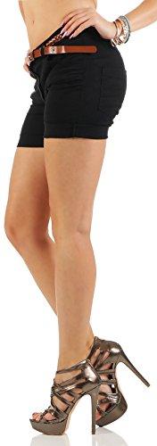 malito Shorts mit Gürtel Pants Uni-Farben 1018 Damen Schwarz