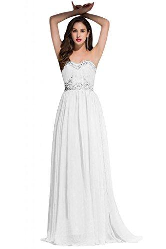 Sunvary Fascia per la schiena, della linea Sweetheart Chiffon decorazioni, abiti da sera White