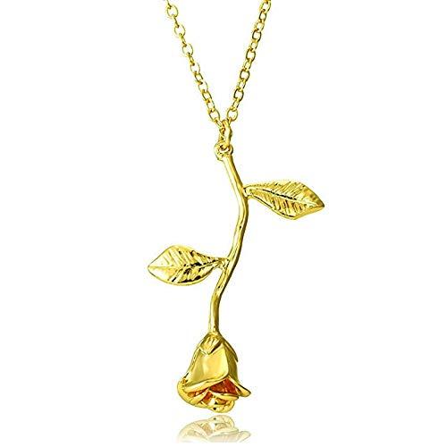 ITVIP Collana con Ciondolo a Forma di Rosa, per Ragazza, Bambina, Donna, Regalo (Oro)