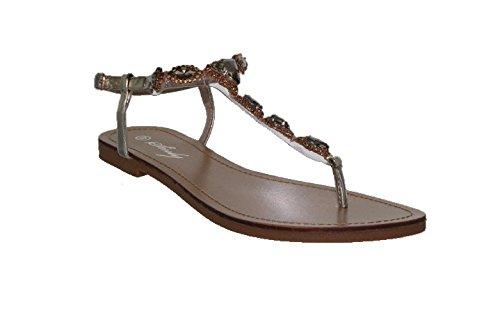 Sinly - Sandale Plate, Ornée De Strass - Femme Doré